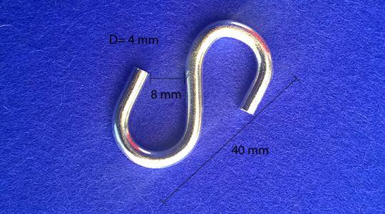 40 mm S-koukku S-Haaken S-hook